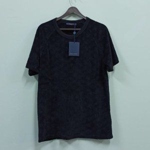 LV Men's Casual Toweling Fabric Black T-Shirt